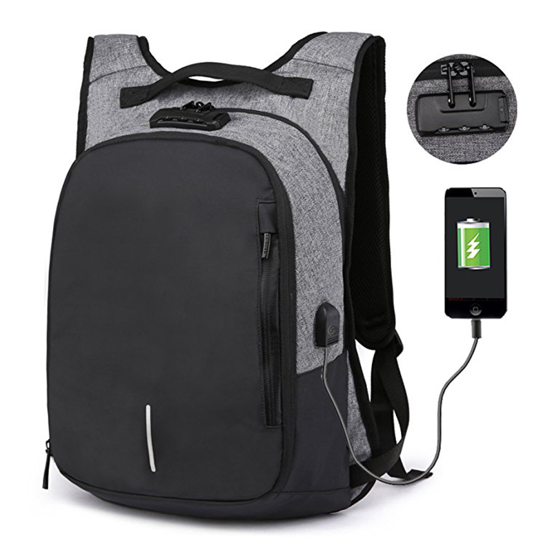 Coded Lock Anti Theft Laptop Backpack Waterproof Nylon Tablet Bag with USB Port for Travel Business Sports Men Women Backpacks fashion men backpack women travel bag waterproof versatile pull rod backpacks baggage bag laptop bags anti theft lock backpack