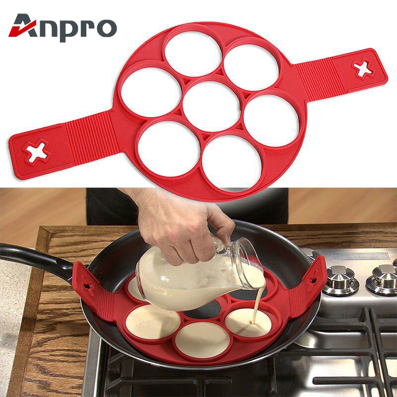 Anpro Nonstick Cooking Tool Egg Ring Maker Egg Silicone Mold Pancake Cheese Egg Cooker Pan Flip Kitchen Baking Accessories