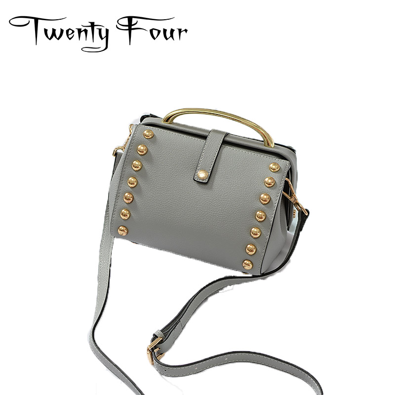 Twenty-four Luxury Genuine Leather Female Shoulder Bags Fashion Style Doctor Bags With Rivet Small Handbags For Lady Mochila Bag new arrival set of four rivet with embossing backpack female rivet woolly bear pendant with fashion backpacks b 40
