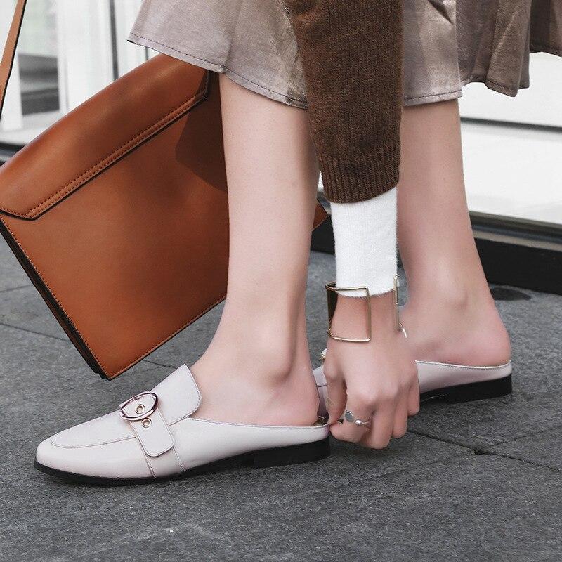 En Paresseux Haute Ceinture Couverts Femmes Cuir blanc Slipper on De Bout Stylesowner marron D'été Plat Demi Casual Noir Chaussures Qualité Malayeurs Slip Boucle Mode v8nSY7I