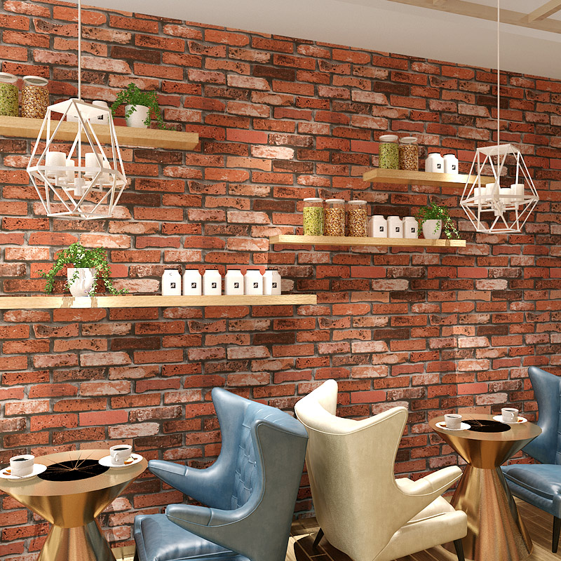 Chinese style 3d embossed vinyl wallpaper brick wall - Living room cafe menu philadelphia ...