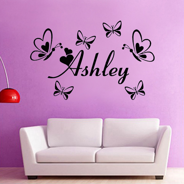 Baby Girl Nursery Wall Art Stickers custom english name butterflies wall art stickers baby girl bedroom