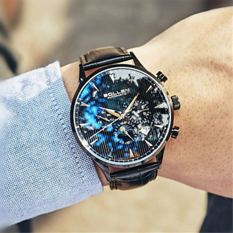 Skeleton Tourbillon Mechanical Watch Men Automatic Classic Leather Waterproof Multifunction Chronograph Wrist Watches montres