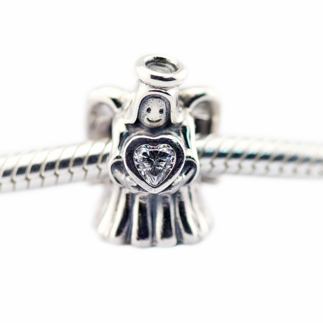 Angel of Love Clear CZ Beads Fits Pandora Charms Bracelets Beads For Jewelry Making 925 Sterling Silver Jewelry 11 11 2016