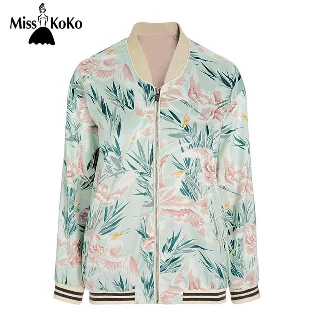 MissKoKo Otoño Casual Chic Mujeres chaqueta de Bombardero Verde Estampado floral Delgado Cazadoras Cremallera Volar Recto Suave Outwear