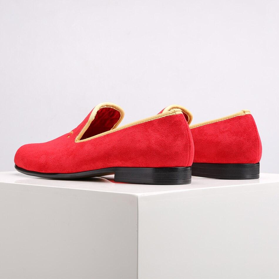 Piergitar 2019 nuevo estilo zapatos de gamuza para hombre con letras de personalidad personalizadas bordadas boda y baile de graduación mocasines para Hombre Tallas grandes-in Mocasines from zapatos    3