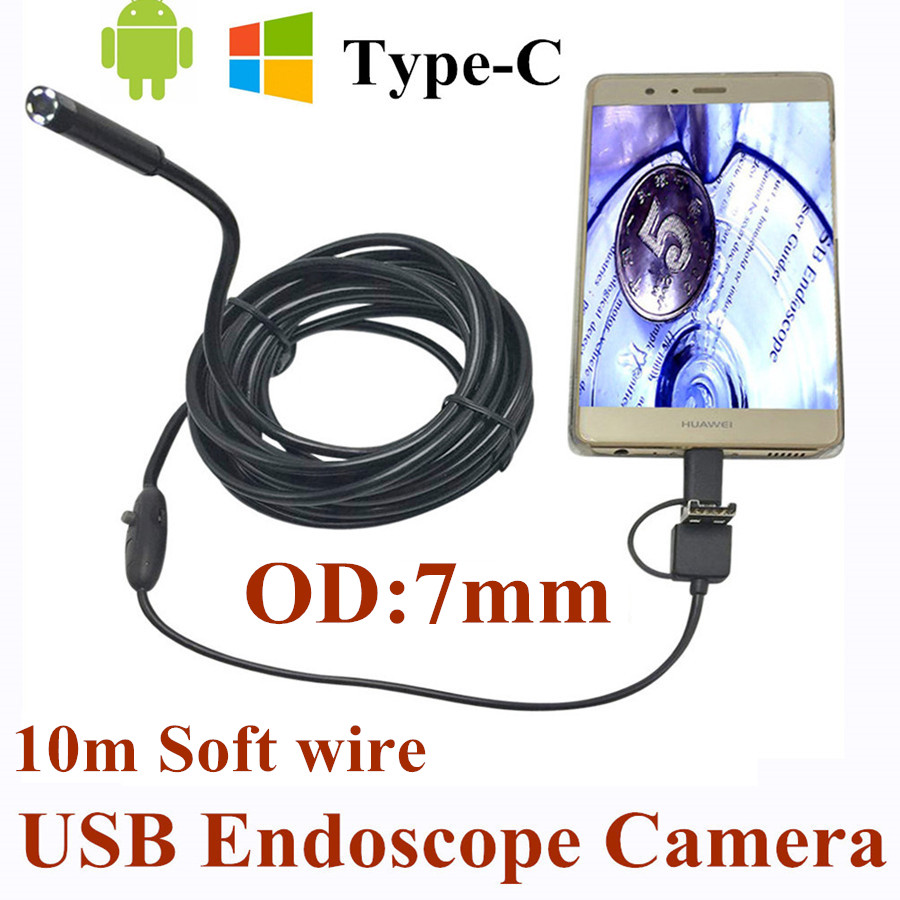 7mm 3 in 1 USB Endoscope Camera 10M Soft Wire IP66 Waterproof Snake Tube Inspection Android OTG Type-C USB Borescope Camera 7mm lens mini usb android endoscope camera waterproof snake tube 2m inspection micro usb borescope android phone endoskop camera