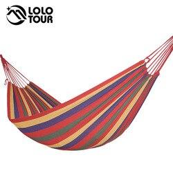 Rede de jardim ao ar livre portátil pendurar cama viagem acampamento dormir rede balanço lona listra 280*100cm