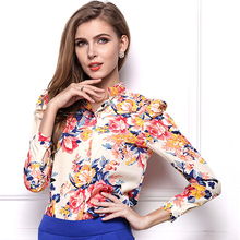 Women's Casual Floral Print High Neck Long Sleeve Loose Chiffon Blouse Shirt