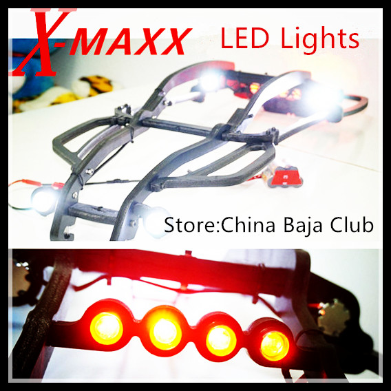TRAXXAS X-MAXX Lamp Headlamps Taillight Set 12pcs Include head light bracket and switch 2pcs traxxas original 1 5 x maxx tires wheels tire tyre for 1 5 traxxas x maxx rc monster truck model 7772