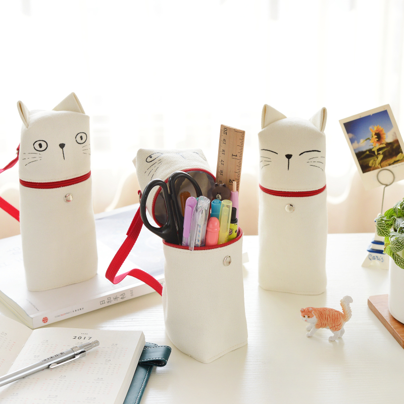 Cute cat pencil bag Lovely expression kitties pen bag with red tail for stationery Office accessories School supplies 6504 cute cat bag locks metal buckle snap clasp closure diy bag accessories