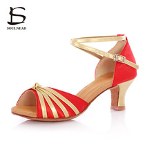New Style Dance Shoes Satin Material Adult Women Ballroom Latin Tango Salsa High Heeled Soft Sole