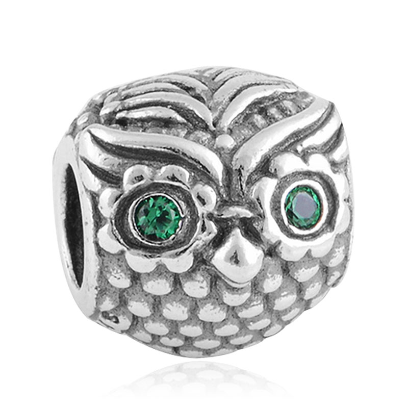 2016 1pcs fashion Silver Green Eyes Owl Charm Beads Fits Pandora Bracelet European DIY Jewelry