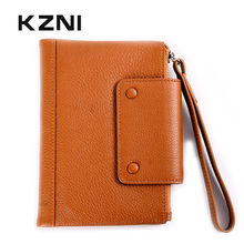 KZNI Genuine Leather Wallet Woman Slim Cowhide Leather Wallets for Credit Cards Wristlet Purse Portomonee Monedero Mujer 2158(China)