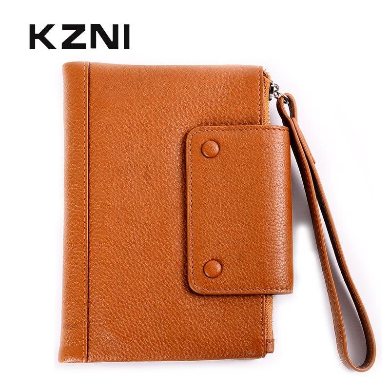 KZNI portefeuille en cuir véritable femme mince en cuir de vachette portefeuilles pour cartes de crédit porte-monnaie porte-bracelet Portomonee Monedero Mujer 2158