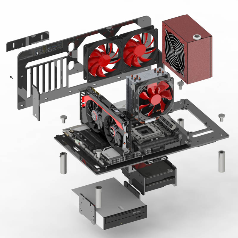 Personalized DIY Acrylic rack PC Chassis Case Horizontal Water cooling ATX/Matx Open bare gamer host box gabinete computador 2