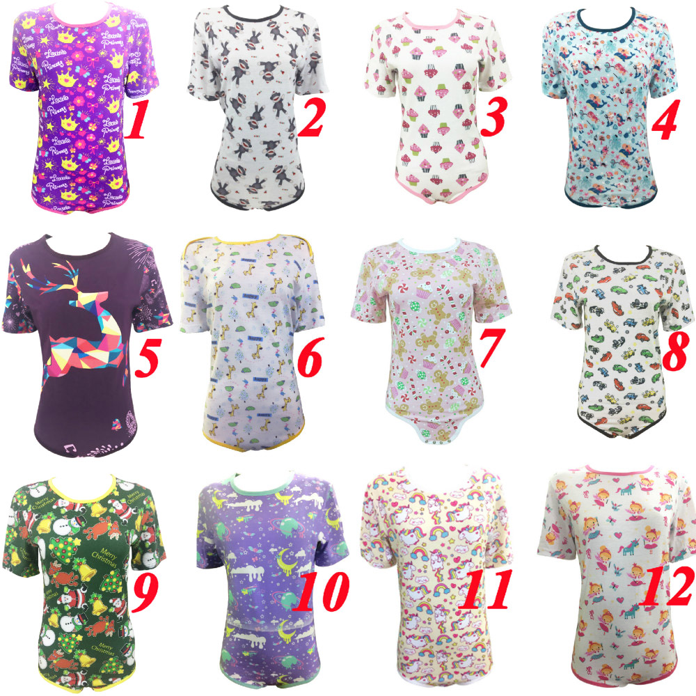 2019 Abdl Adult Onesie Cute Ddlg Women High-end Short-sleeved Causal Diaper Lover Snap Crotch Romper Daddy Dom Pink Princess
