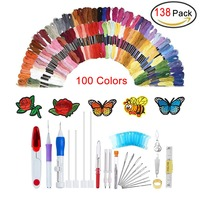 138Pcs Embroidery Pen Punch Needle Set, Embroidery Punch Needle Kit Craft Tool with 100 Color Threads for DIY Threaders Sewing