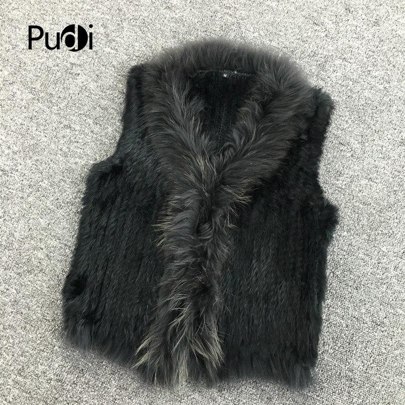 VR033 femmes véritable naturel réel fourrure de lapin tricoté gilets/gilet/gilet/manteaux avec glands col de fourrure de raton laveur