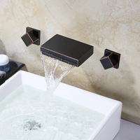 Black Bathroom Faucet Wall Mounted 3 Holes Cold Hot Water Tap Faucet Square Modern Bathroom Mixer