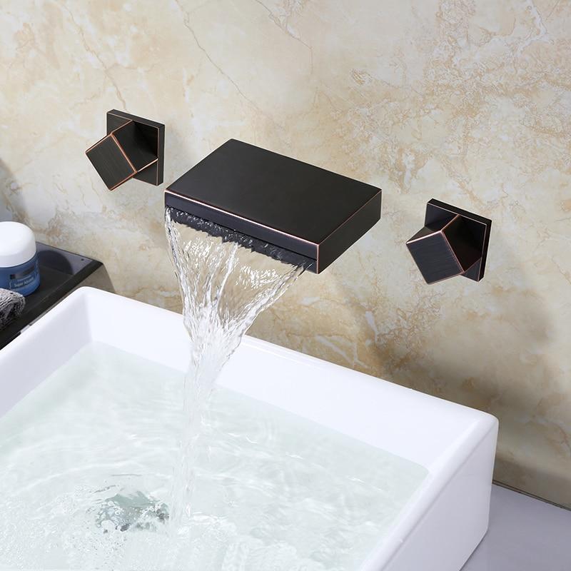 Robinet de salle de bain noir mural 3 trous robinet d'eau chaude froide robinet carré moderne salle de bain mélangeur