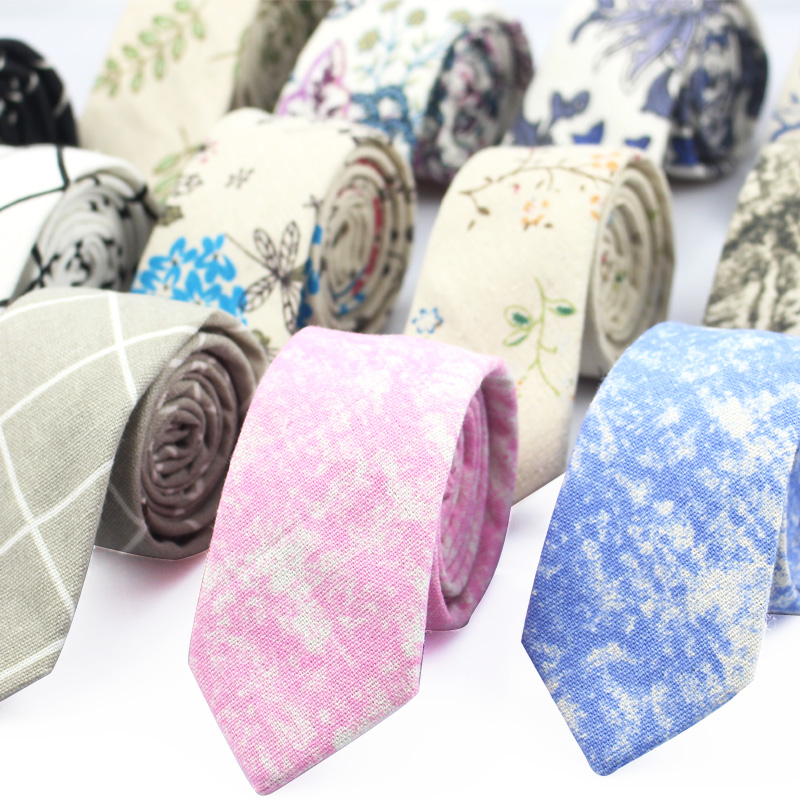 Fashion Neck Tie For Men Floral Linen Ties for Wedding Party Print Narrow Neckties Casual Mens Retro Neckwear Male Cotton Ties