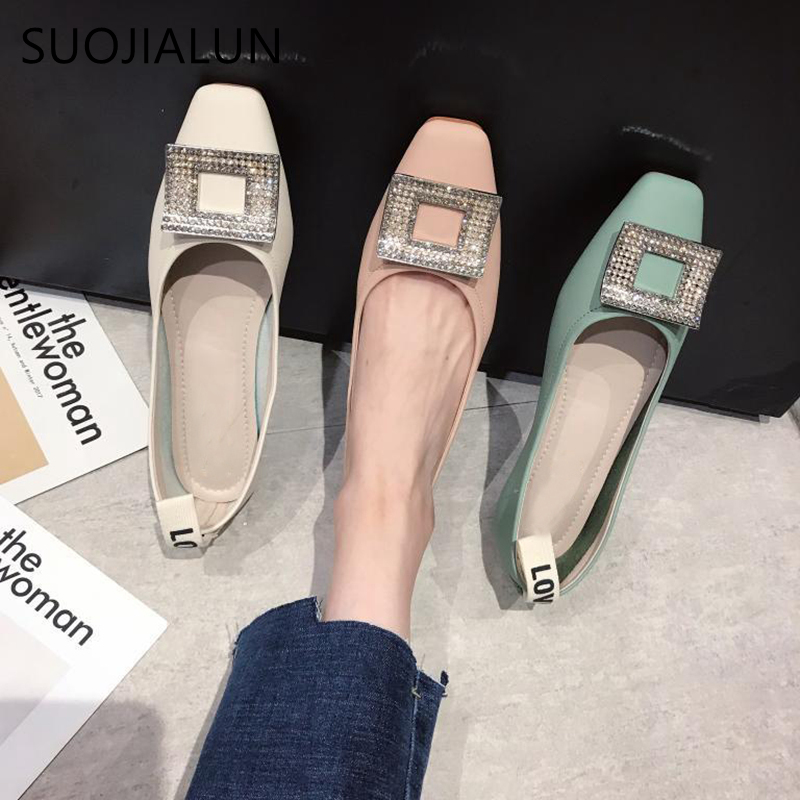 SUOJIALUN 2019 Women Shoes Fashion Bling Rhinestone Flat Shoes High Quality Slip On Ladies Lazy Loafers Casual Female Flat Shoe in Women 39 s Flats from Shoes