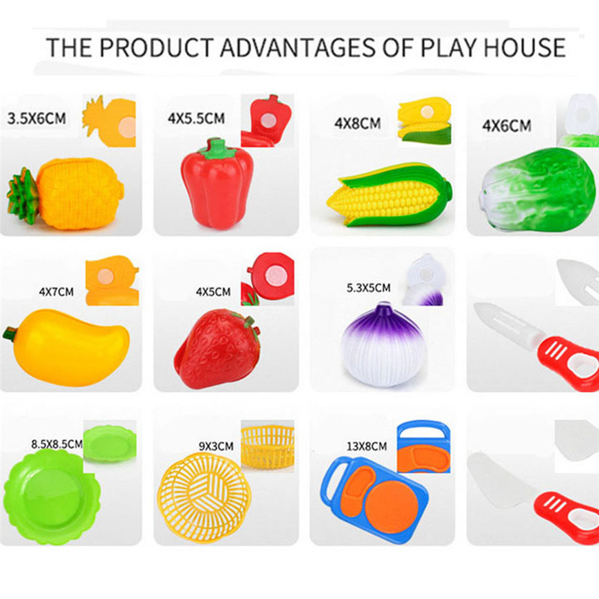 2017 A# Dropshipping 12pc Cutting Fruit Vegetable Pretend Play Children Kid Educational Toy #5