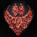 Moda Borboleta Brincos de Cristal Colar Conjuntos De Jóias de Noiva Acessórios de Noiva Banhado A Ouro Jóias de Casamento Vestido de Baile Das Mulheres