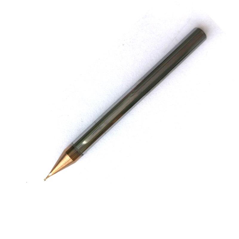 0.2mm, 0.3mm, 0.4-0.9mm 2 flautas hrc60 Carboneto de Fresa de topo Quadrado Plano CNC Fresas Fresas Sprial Bits