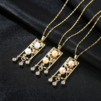 Hollow out carved allergy proof pure silver necklace S925 chain with AAA zircon natural pearl pendant lady's Necklace