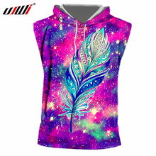 UJWI Funny Print Feather Star 3D T-shirts Men Summer Fashion Sleeveless Hooded Tshirt Homme Crewneck Drawsting Hoody 7XL