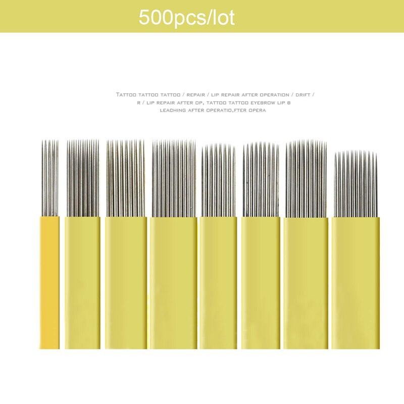 500 pcs Lamina Tebori Microblading shading ใบมีดคู่แถว hard เข็ม 9/15/17/19/21pin เข็มแต่งหน้าแบบถาวรหมอก eyebrow และ-ใน เข็มสัก จาก ความงามและสุขภาพ บน   1