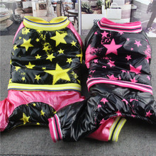 Free Shipping pet dog winter clothes Stars British Leisure Tactic Dog jumpsuit Thick Cotton Rose Yellow 2 colors Cheap clothes