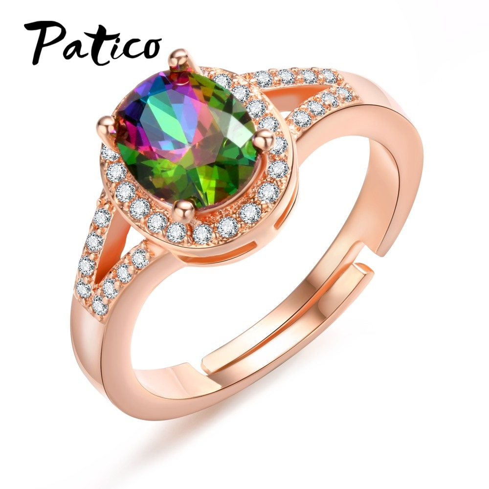 PATICO Attractive New Oval Shape Rainbow Color Stone CZ Crystal Rings For Girls Rose Gold S90 Silver Wedding Rings