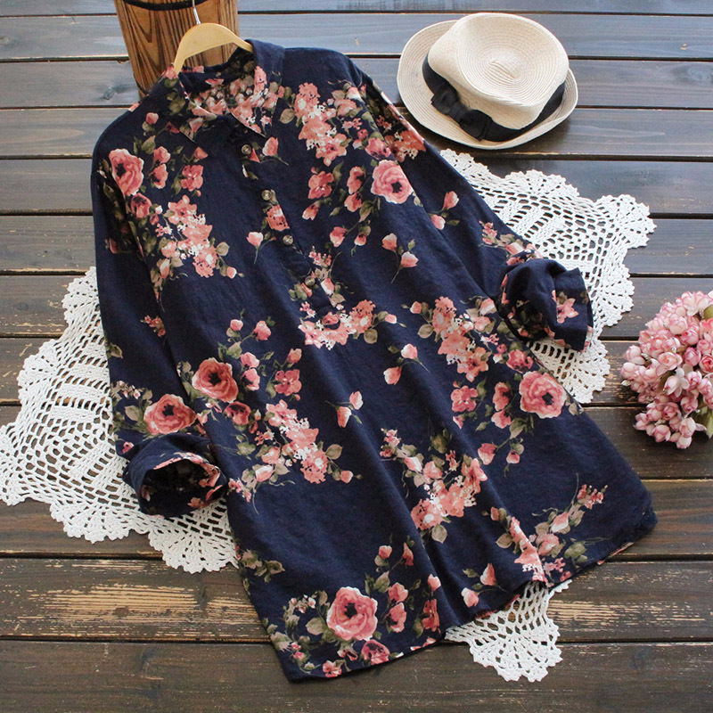 New 2018 Spring Sweet Printed Floral Shirts Blouses Women Full Sleeve Turn Down Colar Cotton Tops Button Up Blusas Mujer Clothes