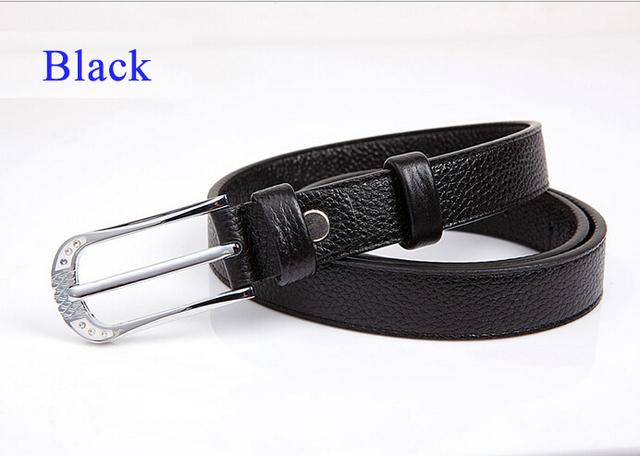 100% feminino Genuíno Couro de couro Cinto para mulheres cintos de correia fivela de Metal acessórios de vestuário de moda preto sólido 120 cm cintura