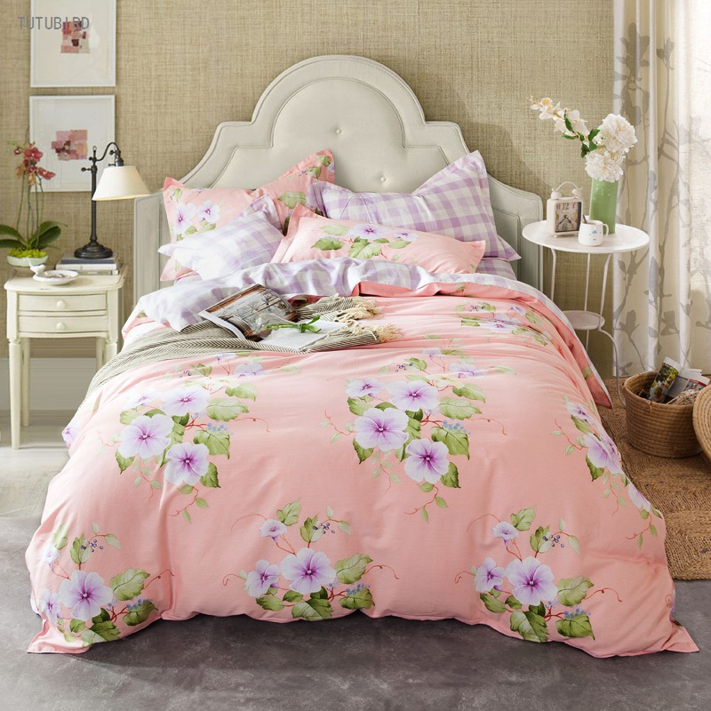 TUTUBIRD pink princess style purple flower bedding sets 100% cotton cute kids girls/boys bed linen bedclothes bedspread