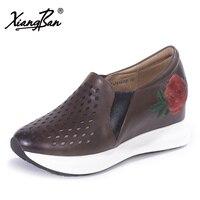 Xiangban ручной работы вышитые цветы кожаные туфли женские удобные глубокие дырочку женская обувь на плоской подошве обувь на платформе