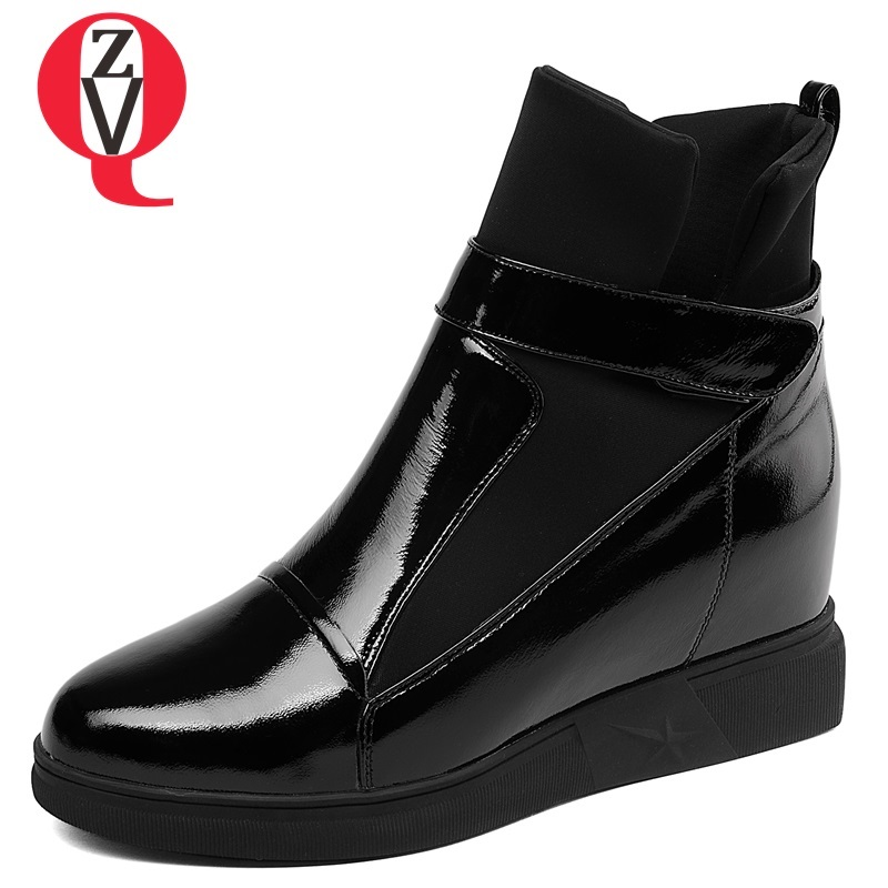 Black Zvq Med Black 2018 Leather Verni Hauteur cow Hiver Cuir L'extérieur Bout Chaussures Patent Slip À Croissante on Pour Mode En Femmes Bottines Nouvelle Confortable Rond wwdBrgn4