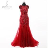 Robe De Soiree Longue 2018 Style Beading Appliques Long Elegant Black Red Prom Dress Jewel Neck Mermaid Red Evening Dress 2018