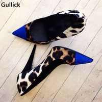 Leopard Blau Gemischt Farbe High Heels Frauen Sexy Pumpen Neueste Design Mode Spitz Weibliche Kleid Schuhe Slip-on einzelnen Schuhe