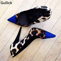 Leopard Blue Mixed Color High Heels Women Sexy Pumps Newest Design Fashion Pointed Toe Female Dress Shoes Slip on Single Shoes