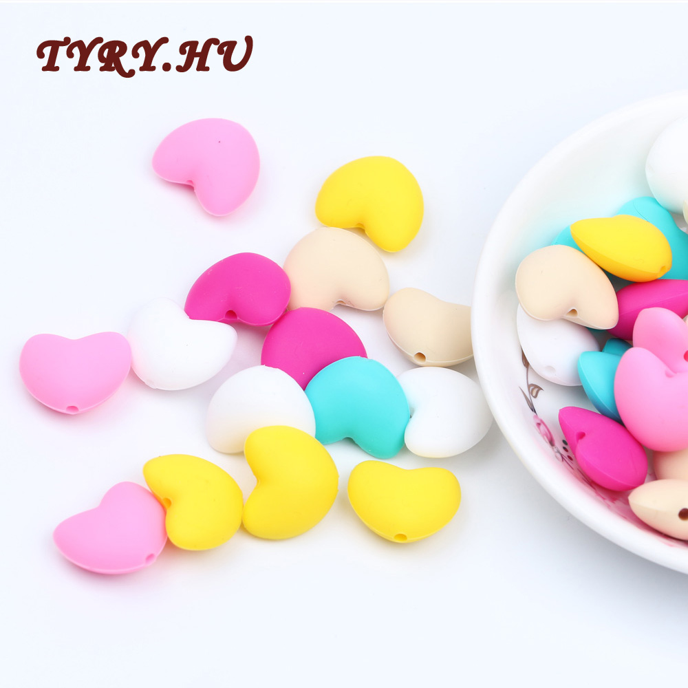 20pc Food Grade Silicone Love Shape Beads For DIY Baby Teething Necklace Making Nursing Chewing Teether Pendant Toy Gift