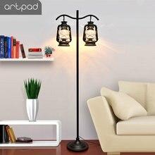 Vintage Floor Lamp With Foot Switch Kerosene Glass Lampshade E27 Black LED Floor Standing Lamps Bedroom Living Room Lustre