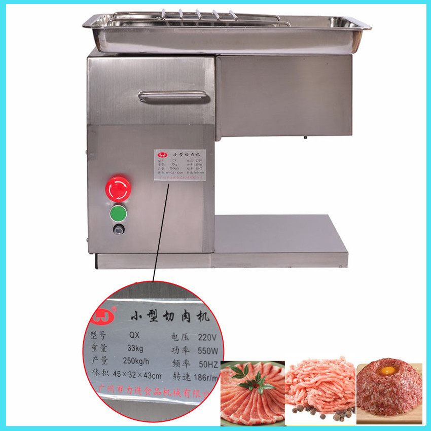 220V/110V QX Stainless Steel Meat Slicer meat cutting machine meat slicer machine Desktop Meat Cutter Meat Cut Machine 550w stainless steel manual cut meat machine