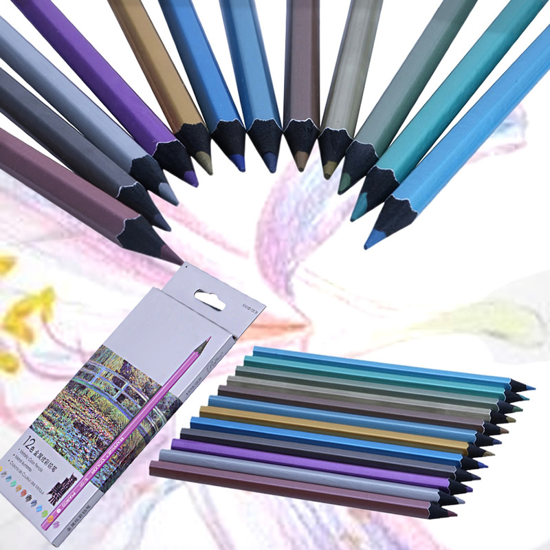 12 Metallic Colored Pencil Non-toxic For Drawing Sketching Set Stationery