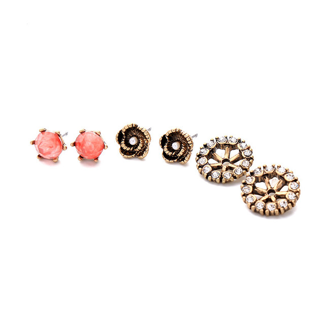 Vintage Women Small Stud Earring Set Online Ping India Bijoux Alloy Crystal Flower Earrings Brincos