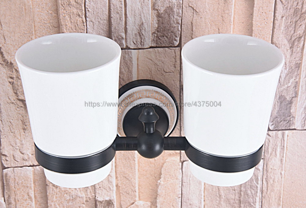 Bathroom Accessory Wall Mounted Black Oil Rubbed Bronze Toothbrush Holder with Two Ceramic Cups Nba710 image