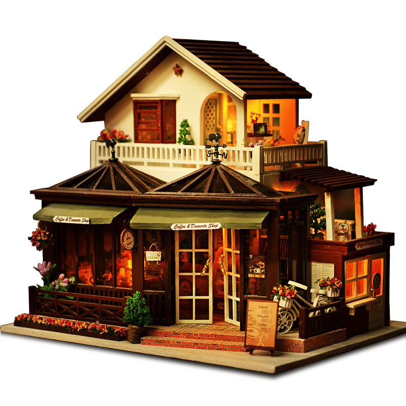 DIY Wooden Hut Large Villa Coffee House  With LED Light Music Small Tools Manual Assembling House Model Toys House Birthday Gift
